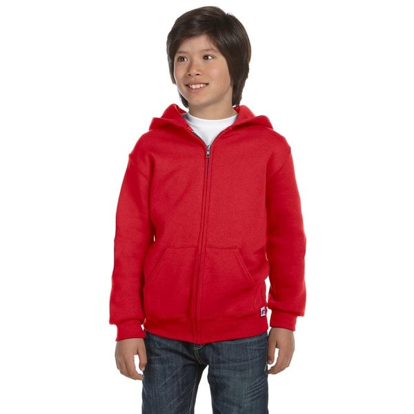 Dri-Power Boys Red Fleece Full-zip Hoodie