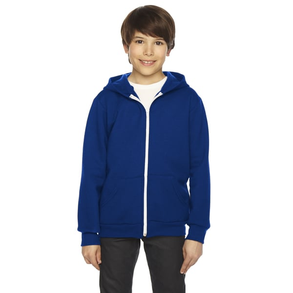 American Apparel Boys' Flex Lapis Blue Fleece Zip Hoodie