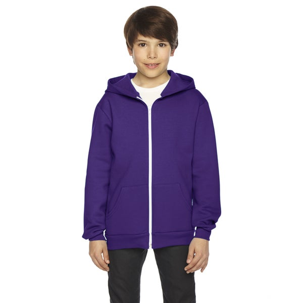 Flex Boy's Purple Fleece Zip Hoodie
