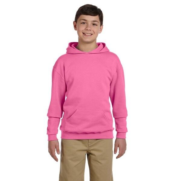 Nublend Boys Neon Pink Hooded Pullover Sweatshirt