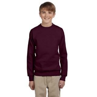 Youth Comfortblend Ecosmart Boy's Maroon Polyester Fleece Crewneck Sweatshirt