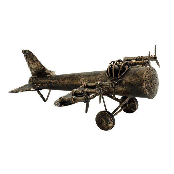Small Metal 11-inch x 11-inch Plane Figurine