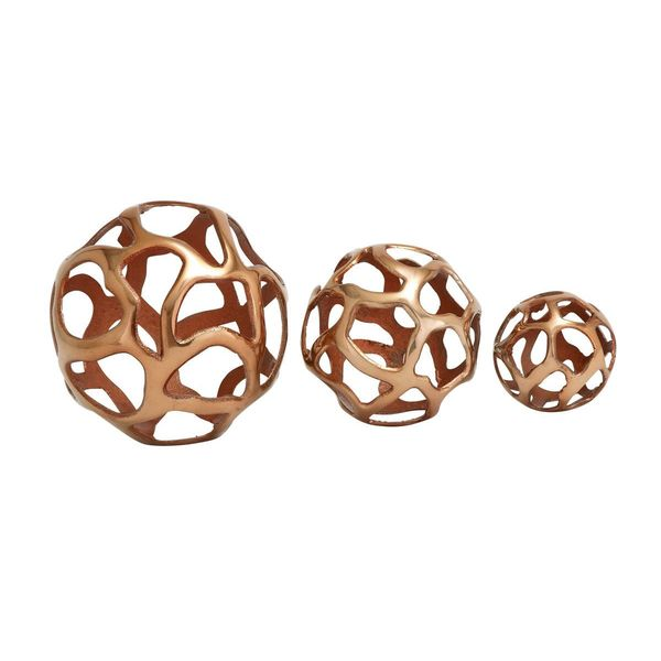 Copper-finish Aluminum 4-inch/6-inch/8-inch Decor Balls (Pack of 3)