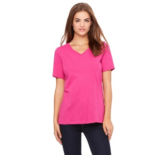 Missy's Girls Berry Relaxed-fit Jersey Short-sleeve V-neck T-shirt