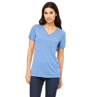 Missy's Girls' Blue Triblend Jersey Relaxed Short-sleeve V-neck T-shirt