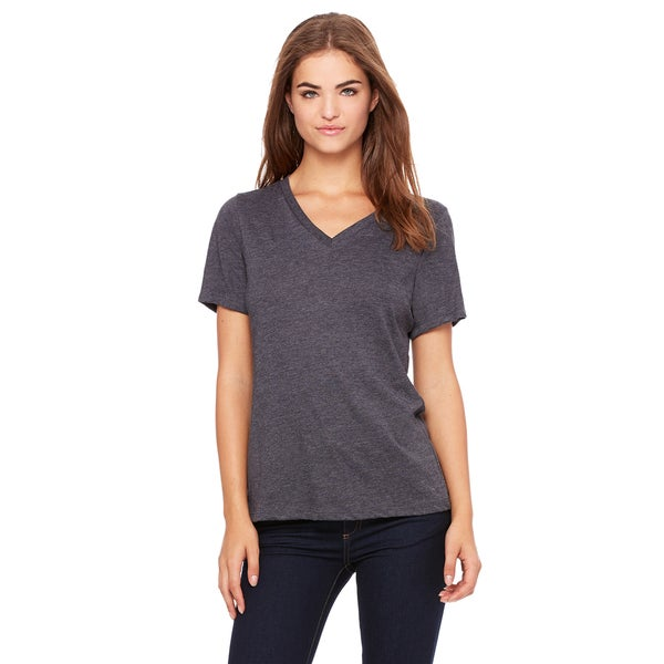 Missy's Girl's Dark Grey Heather Relaxed Jersey Short-sleeve V-neck T-shirt
