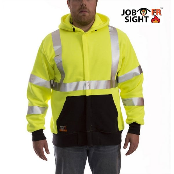 Job Sight FR S88122 Class 3 Flame Resistant Fluorescent Yellow/ Green Long Sleeve Zip-up Hooded Sweatshirt