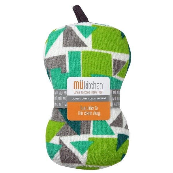 MUkitchen Durable Microfiber Sponge with Scrubber, Triangle