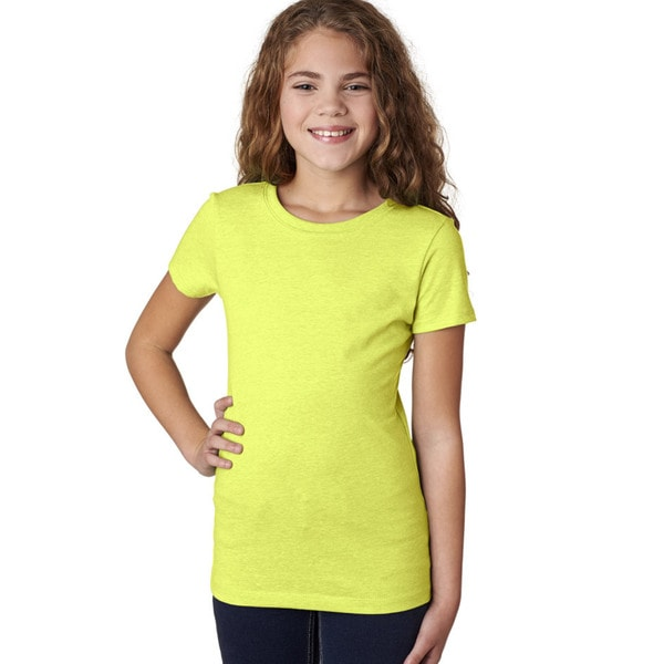 Next Level Girls' The Princess CVC Neon Yellow T-Shirt