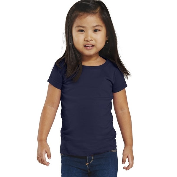 Fine Girl's Jersey Navy Blue Cotton Longer-length T-shirt Navy