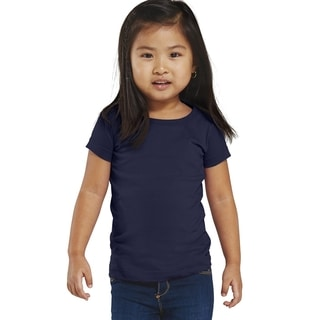 Fine Girl's Jersey Navy Blue Cotton Longer-length T-shirt Navy
