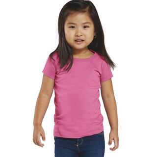 Girls' Raspberry Cotton Jersey Longer-length T-shirt