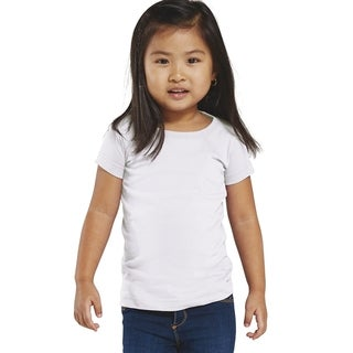 Fine Girl's White Cotton Jersey Long-length T-Shirt