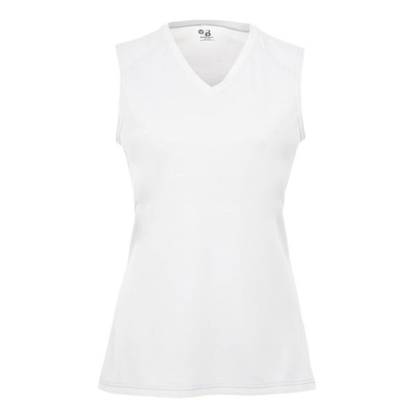 B-Core Performance Girl's Solid Color White Lap-neck Sleeveless T-shirt 19546325