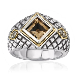 Avanti Sterling Silver and 18K Yellow Gold Smoky Quartz and Brown Diamond Accent Ring