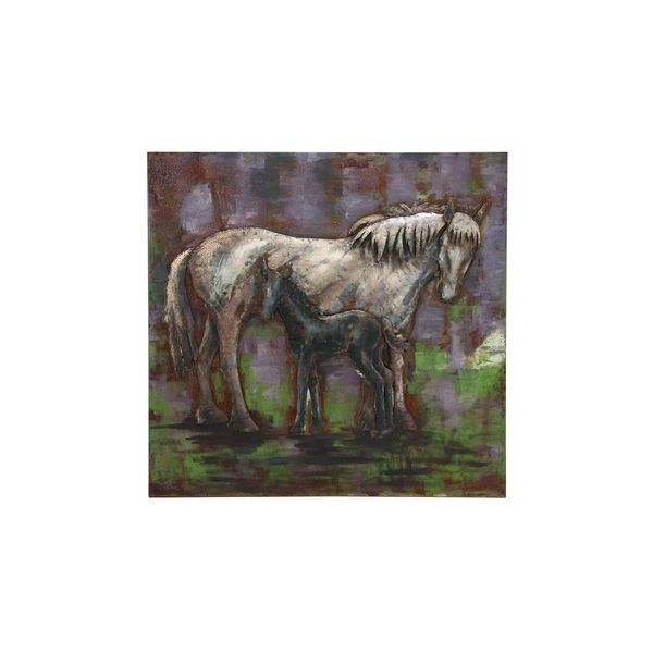 Multicolored Horse Duo Metal 47-inch Square Wall Art