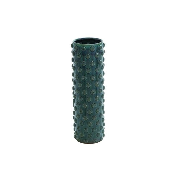Green Stoneware Cylindrical Table Vase