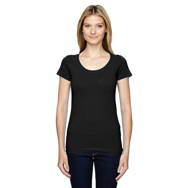 Juniors' Black, Fine Jersey, Deep-scoop Neck, Longer-length T-Shirt