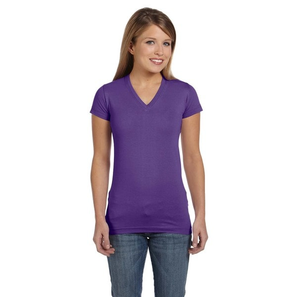 Juniors' Purple Fine Jersey V-neck Longer-length T-shirt