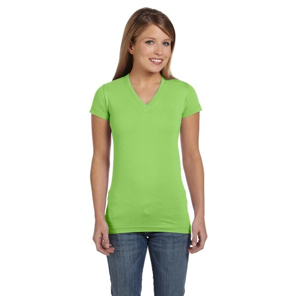 Juniors Lime Fine Jersey V-neck Longer-length T-shirt