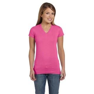 Juniors' Raspberry Fine Jersey V-neck Longer-length T-shirt