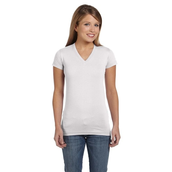 Juniors White Fine Jersey V-neck Longer-length T-Shirt