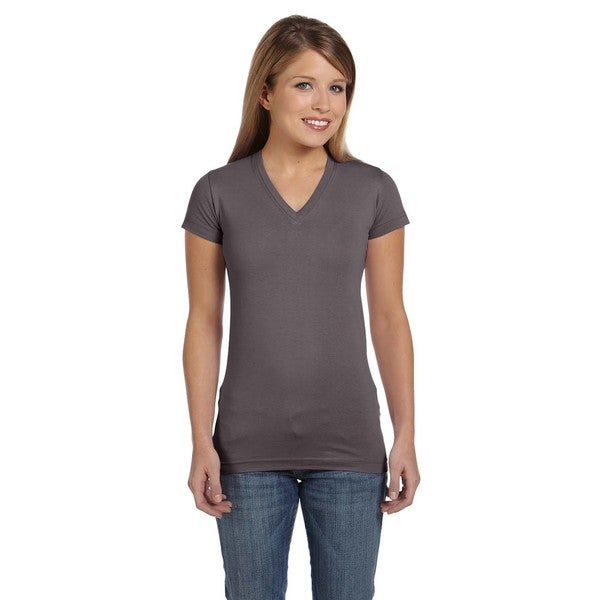 Juniors' Fine Jersey Charcoal V-Neck Longer-length T-shirt