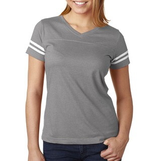 Girls' Vintage Heather/White Cotton/Polyester Jersey Football T-shirt