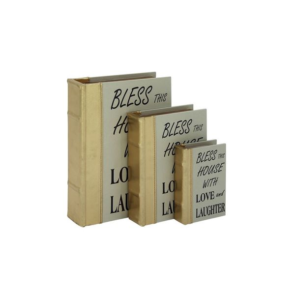 Wood/Leather 6/9/12 Inches High Bookbox (Set of 3) 19546957