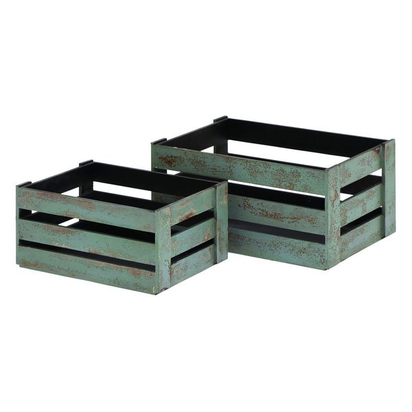 Wood 16-inch, 20-inch Crates (Set of 2)