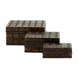 Wood/metal 12-inch, 10-inch, 8-inch Wide Boxes Set of 3