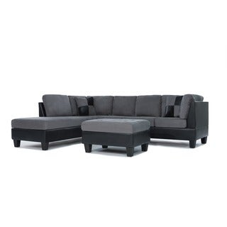 3 Piece Modern Soft Reversible Grey Microfiber and Faux Leather Sectional Sofa with Ottoman