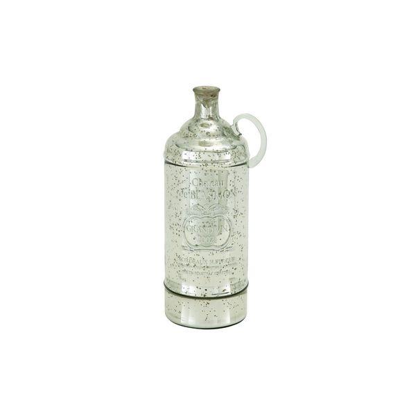 Grey/Silvertone Glass 17-inch x 6-inch Jug Vase
