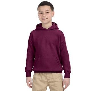 Gildan Boys' Maroon Heavy Cotton-blend Hooded Sweatshirt