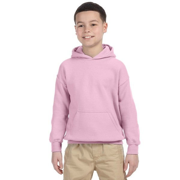 Heavy Blend Boy's Light Pink Hooded Sweatshirt