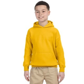 Heavy Blend Boy's Gold Cotton and Polyester Hooded Sweatshirt