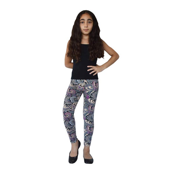 Girl's Purple Paisley Printed Legging