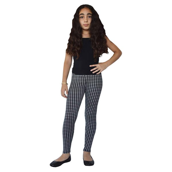 Girls' Black and White Printed Leggings