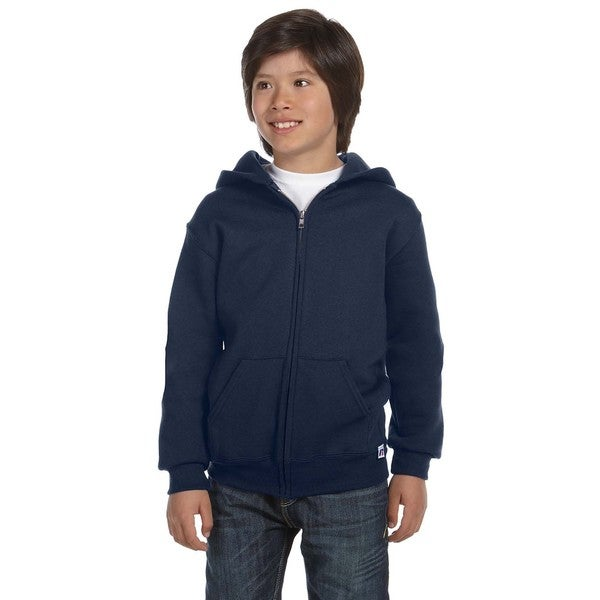 Dri-Power Boys' Navy Cotton-Blend Fleece Full-zip Hoodie