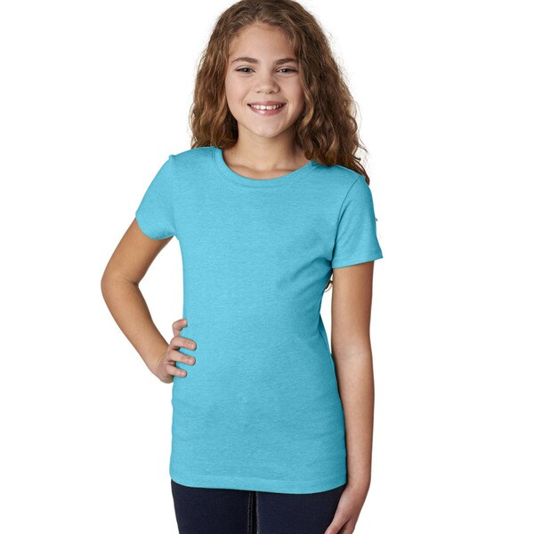 Next Level Girls' The Princess CVC Bondi Blue T-Shirt