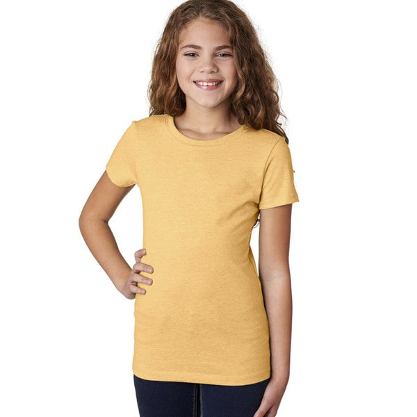 Next Level Girl's Yellow Cotton-blended T-Shirt