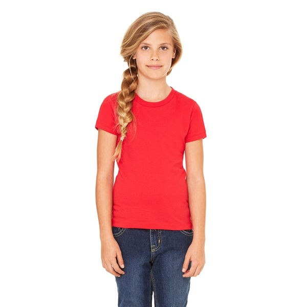 Girls' Red Cotton Jersey Short-sleeved T-shirt