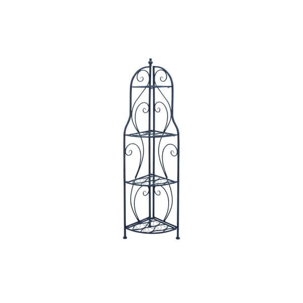 Updated Traditional Black Iron 60-inches High x 17-inches Wide Oval Grid Design Corner Shelf