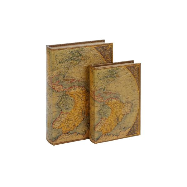 Wood and Leather Map Book Box