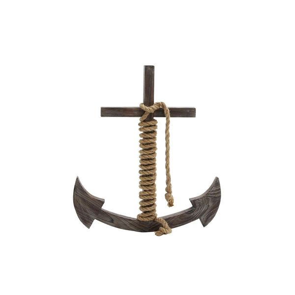 Wood/Rope 25-inch x 27-inch Wall Anchor Figurine
