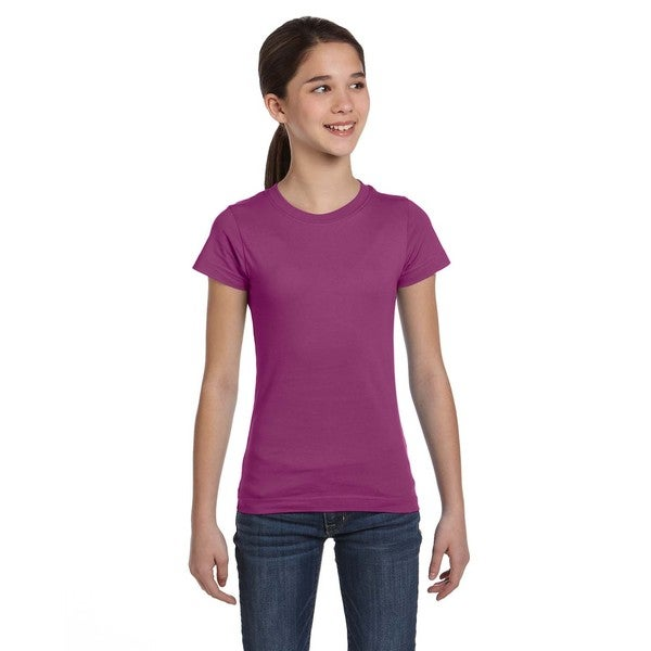 Fine Girls' Plum Cotton Jersey T-Shirt