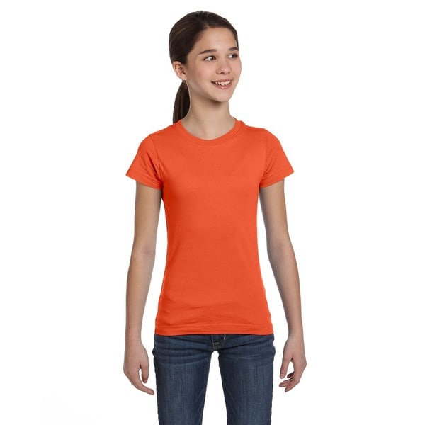 Fine Girls' Orange Cotton Jersey T-Shirt