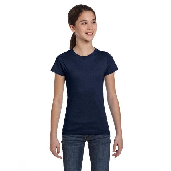 Fine Girl's Navy Jersey T-shirt