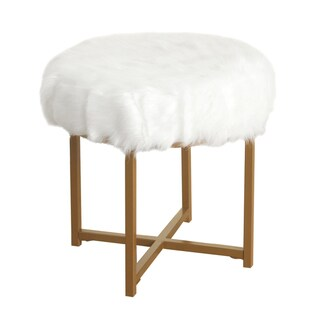 Silver Orchid Hartau White Faux Fur Round Stool with Goldtone Metal base