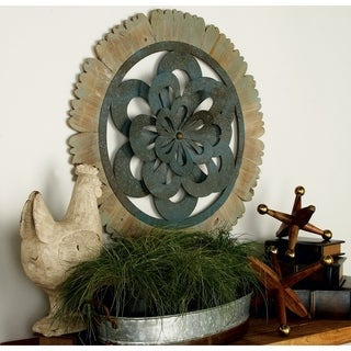 Multicolored Wrought Iron and Wood Circular Wall Decor